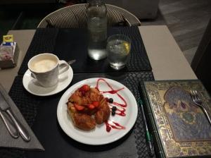 breakfast crescent and cappucino