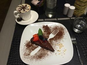 chocolate tart and cappucino